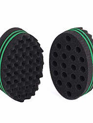 cheap -two sides oval shape afro braid style coil wave hair curl sponge brush for natural hair (2 pcs black/green)