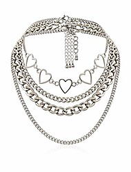 cheap -simple hearts necklace lolita choker chain for girls women layered cuban chunky chain necklace chic style wedding dress jewelry (silver 1)