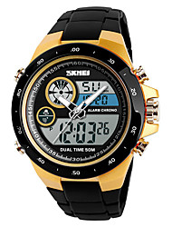 cheap -Men's Sport Watch Military Watch Digital Watch Digital Casual Alarm Analog - Digital Black Black / Red Gold / One Year / Stainless Steel / Quilted PU Leather / Japanese / Chronograph