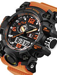 cheap -men's military watch, dual-display waterproof sports digital watch big wrist for men with alarm (orange)