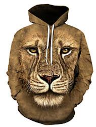 cheap -Men's Hoodie Sweatshirt Pullover Sweatshirt Optical Illusion Lion Wolf Modern Style Hooded Daily Weekend Active Hoodies Sweatshirts  Long Sleeve Blue Camel / Fall / Winter