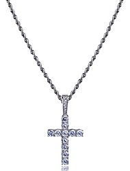 cheap -14k gold&silver plated solid iced out cz lab cubic zirconia cross pendant neckace for men women stainless chain