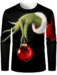 cheap -Men's 3D Graphic T-shirt Long Sleeve Christmas Tops Basic Round Neck Black