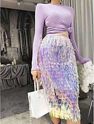 cheap -Women's Casual / Daily Streetwear Skirts Color Block Sequins Black Blue Blushing Pink