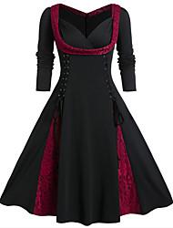 cheap -Women's A-Line Dress Knee Length Dress - Long Sleeve Color Block Lace Spring Fall V Neck Elegant 2020 Purple Red Green L XL XXL 3XL 4XL 5XL
