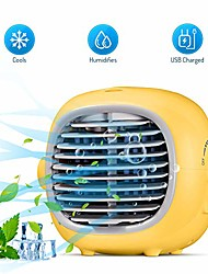 cheap -evaporative portable cooler fan portable air conditioner fan air cooler personal space cooling fan mist humidifiers quiet desk fan with usb recharged(yellow)