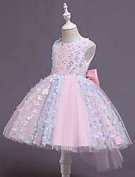 cheap -Toddler Little Girls' Dress Color Block Bow White Blue Purple Above Knee Sleeveless Flower Sweet Dresses Children's Day Slim