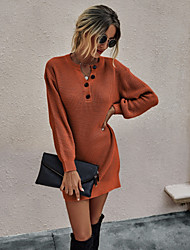 cheap -Women's Sweater Jumper Dress Short Mini Dress - Long Sleeve Solid Color Button Fall V Neck Casual Loose 2020 Black Red Green Beige Gray S M L XL