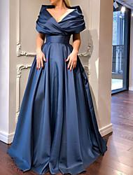 cheap -A-Line Elegant Minimalist Engagement Prom Dress V Neck Short Sleeve Sweep / Brush Train Satin with Pleats 2020