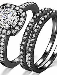 cheap -silver rose gold three-in-one wedding engagement bridal halo ring set (black, 4)