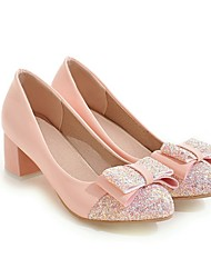 cheap -Women's Heels Pumps Round Toe Sweet Daily Walking Shoes PU Bowknot Sequin Color Block Black Pink Beige