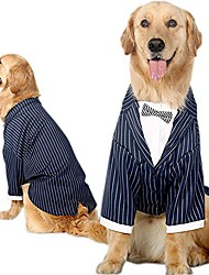 cheap -medium to large dogs formal tuxedo handsome party suit striped wedding bow tie outfit (6xl)