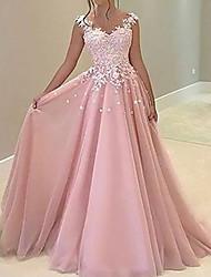 cheap -A-Line Minimalist Sexy Engagement Formal Evening Dress V Neck Sleeveless Floor Length Chiffon Charmeuse with Pleats 2021
