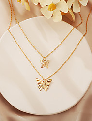 cheap -Women's Choker Necklace Necklace Double Layered Butterfly Vintage European Chrome Gold Silver 21-50 cm Necklace Jewelry 1pc For Halloween Street Gift Birthday Party Festival