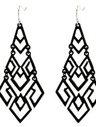 cheap -women's chandelier drop earrings gift wrapped fashion gold cutout tiered dangle drop earrings black