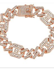 cheap -Men's Clear Synthetic Diamond Chain Bracelet Tennis Bracelet Bracelet Thick Chain Lucky Trendy Hippie Alloy Bracelet Jewelry Rose Gold / Gold / Silver For Party Evening Gift Formal Date Festival