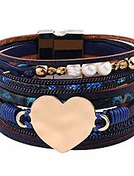 cheap -boho bracelets for women leather wrap - multi layered genuine bohemian jewelry pearl wrap bracelets for women girls, handmade magnetic clasp heart leather cuff bracelets boho jewelry for women girls