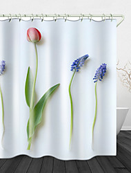 cheap -Simple Flowers Digital Printing Shower Curtain Shower Curtains  Hooks Modern Polyester New Design 72 Inch