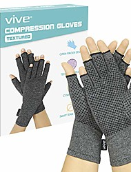 cheap -arthritis gloves with grips - men & women textured fingerless compression - open finger hand gloves for rheumatoid and osteoarthritis - arthritic joint pain relief for computer typing (large)
