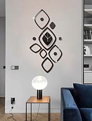cheap -3D DIY Wall Clock Roman Numerals Clock Frameless Mirror Wall Sticker Home Decor for Living Room Bedroom 30cm*60cm