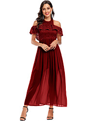 cheap -A-Line Elegant Minimalist Party Wear Formal Evening Dress Halter Neck Short Sleeve Ankle Length Chiffon Lace with Pleats 2020