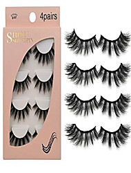 cheap -false eyelashes 4 pairs - professional reusable face eyelashes fit for all eyes, natural thick hand-made 3d faux mink eyelashes for a beautiful makeup look (g107)