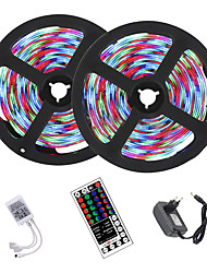 cheap -10M (2x5M) LED Strip Lights RGB Tiktok Lights 2835 600led Strips Lighting Color Changing with 44 Key IR Remote Ideal for Home Kitchen Christmas TV Back Lights DC 12V