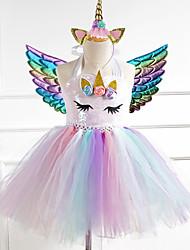cheap -Kids Little Girls' Dress Cartoon Halloween Sequins White Wine Green Knee-length Sleeveless Cute Dresses New Year