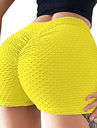 cheap -women's high waist ruched butt lift tummy control yoga shorts scrunch booty push up short workout pants yellow