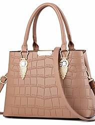cheap -women claissic top handle handbag crossover casual pu leather purse fashion shoulder bag #g khaki