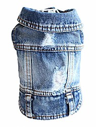 cheap -dog jeans puppy jacket cat clothes pet costume small and medium dog cool coat blue hoodies(xs)