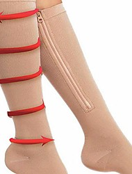 cheap -1 Pair Zipper Compression Socks for Men Women with Open Toe Knee High 20-30mmhg Compression Support Hose