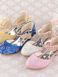 cheap -Princess Shoes Masquerade Girls' Movie Cosplay Sequins Golden Blue Pink Shoes Children's Day Masquerade