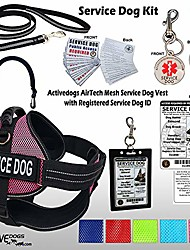 "cheap -service dog kit air-tech mesh service dog vest harness + free registered service dog id + clip-on bridge handle + ada/federal law cards + service dog travel tag (l - girth 25""-35"", pink)"