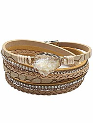 cheap -multilayer leather bracelet handmade crystal wrap bangle with magnetic clasp leather wrap bracelet bohemian jewelry gift for women and girl (wheaten&natural stone)