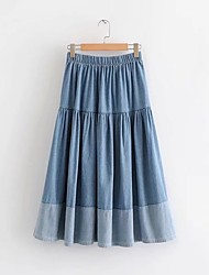cheap -Women's Casual / Daily Basic Denim Skirts Color Block Ruched Patchwork Blue Light Blue