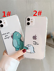 cheap -Case For Apple scene map iPhone 11 11 Pro 11 Pro Max cartoon cute dinosaur couple pattern high permeability TPU material air pressure drop-resistant mobile phone case
