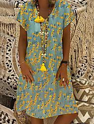 cheap -Women's A-Line Dress Knee Length Dress - Short Sleeve Print Patchwork Print Summer V Neck Casual Loose 2020 Red Yellow S M L XL XXL 3XL 4XL 5XL