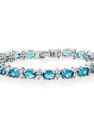cheap -20.00 ct gorgeous oval and round 7 inch sparkling cubic zirconia cz tennis bracelet
