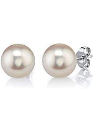 cheap -freshwater cultured pearl earrings for women with 14k gold - the pearl source (white-gold, 12.0mm)