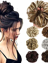 cheap -hair bun extensions wavy curly messy donut chignons hair piece wig hairpiece (light brown mix ash blonden, onesize)