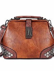 cheap -gothic rivet doctor style cross body bucket shoulder handbag for women (black)