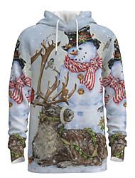 cheap -Daddy and Me Basic Snowman 3D Print Animal Print Long Sleeve Regular Hoodie & Sweatshirt Beige
