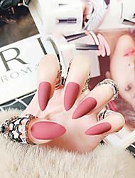 cheap -24pcs solid colors acrylic stiletto false nails full cover fake nails tips natural long claw nails & #40;matte scarlet pink& #41;
