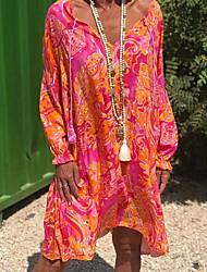 cheap -Women's Swing Dress Knee Length Dress Red Long Sleeve Print Ruffle Print Summer V Neck Hot Casual Boho 2021 S M L XL XXL 3XL