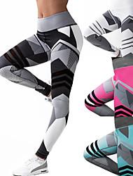 cheap -Women's High Waist Yoga Pants Patchwork Leggings Tummy Control Butt Lift 4 Way Stretch Black Fuchsia Green Mesh Fitness Gym Workout Running Sports Activewear High Elasticity / Quick Dry