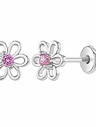 cheap -925 sterling silver 6mm pink cubic zirconia flower screw back girls earrings toddler