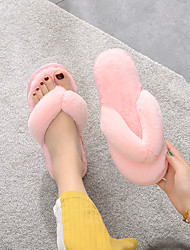 cheap -Women's Slippers & Flip-Flops Fuzzy Slippers Flip-Flops Indoor Slippers Flat Heel Open Toe Classic Casual Sweet Daily Home Faux Fur Solid Colored Black Light Purple Burgundy