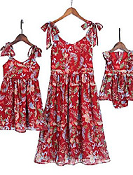 cheap -mommy and me floral printed dresses shoulder straps bowknot chiffon sleeveless matching outfits red