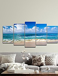 cheap -seaside modern stretched and framed seascape 5 panels giclee canvas prints artwork landscape pictures paintings on canvas wall art for home decor